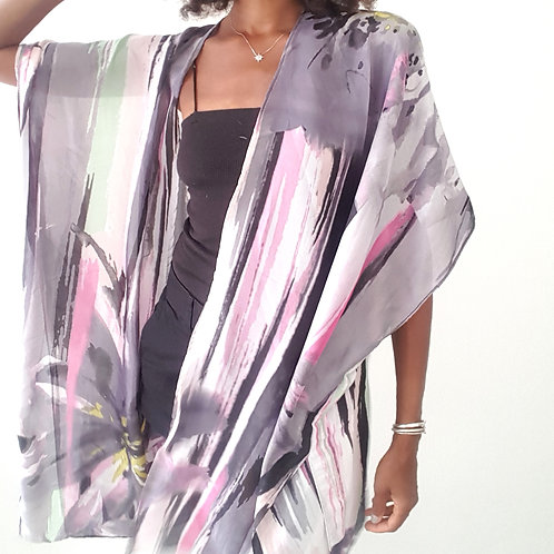 Black Abstract Kimono