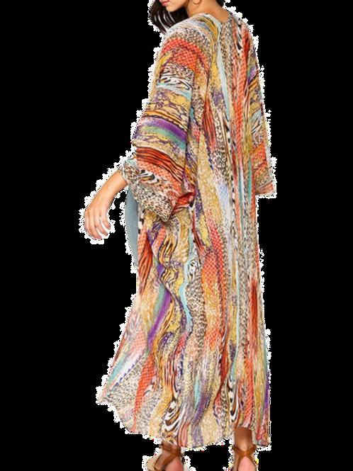 Mix Print Kimono