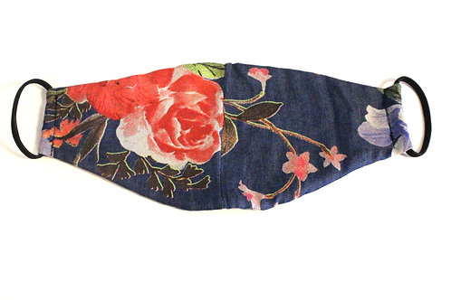 Floral Denim Reversible Mask