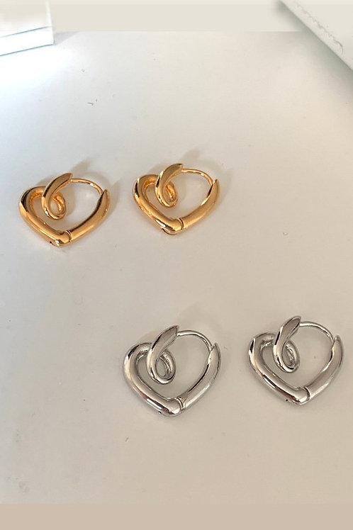 Twist Heart Earring (Gld/Slvr)