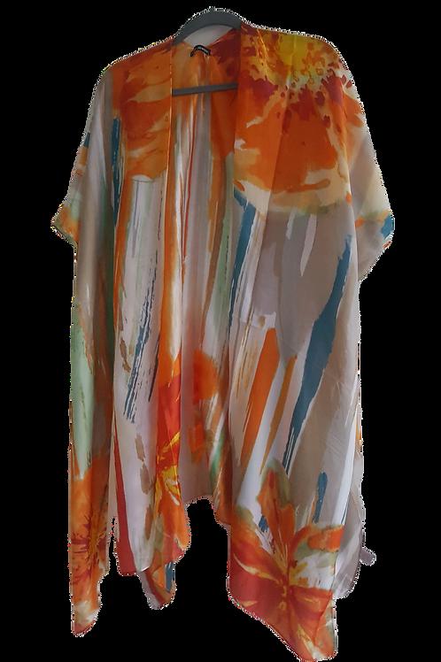 Tangerine Abstract Kimono