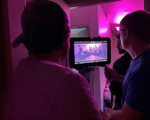 Tyler and Karl on monitor for the party