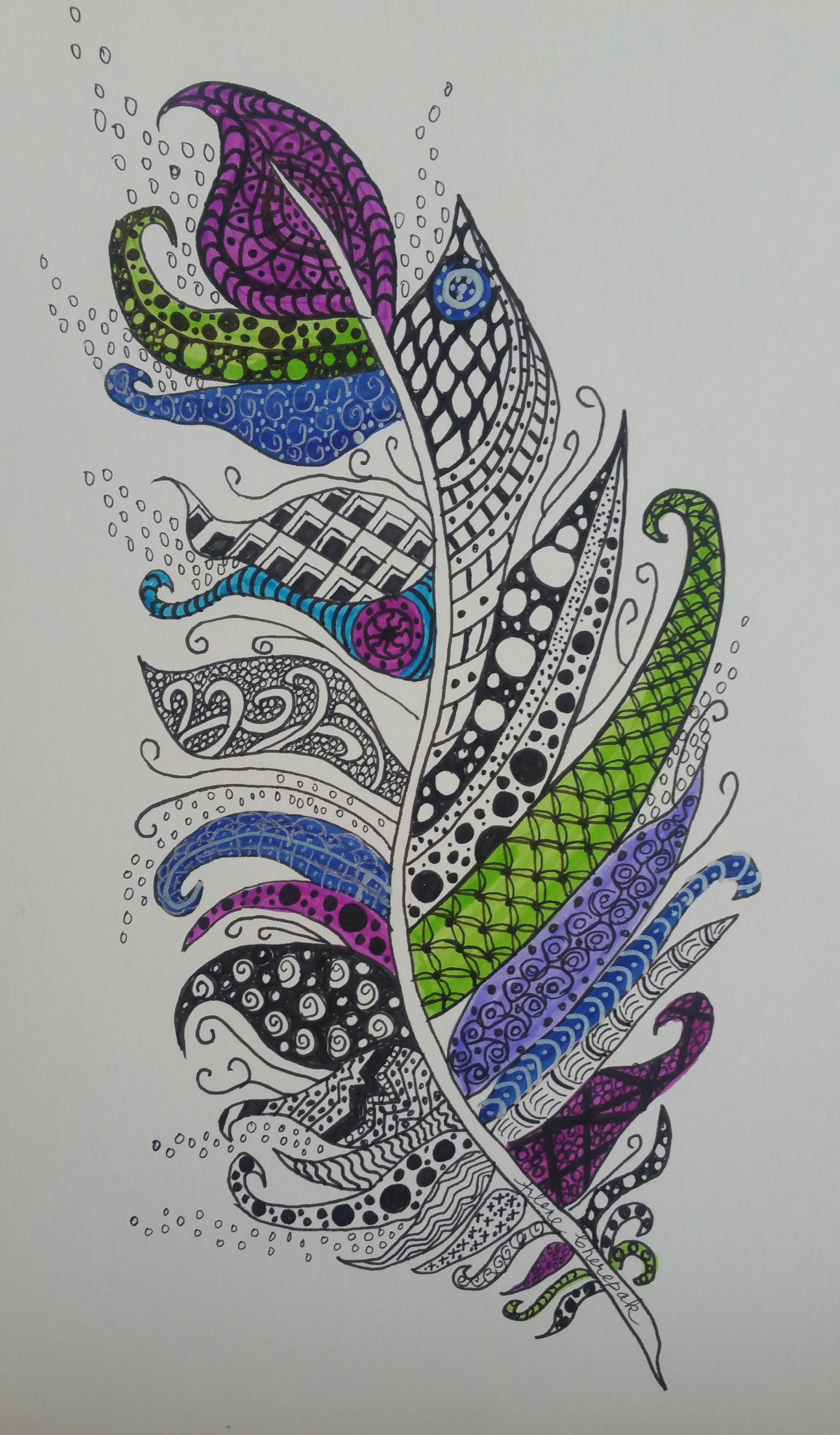 Zentangle Feather
