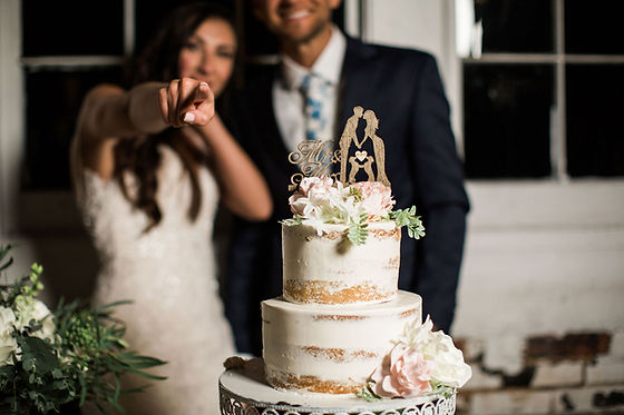 Cake and bride and groom pointing faded
