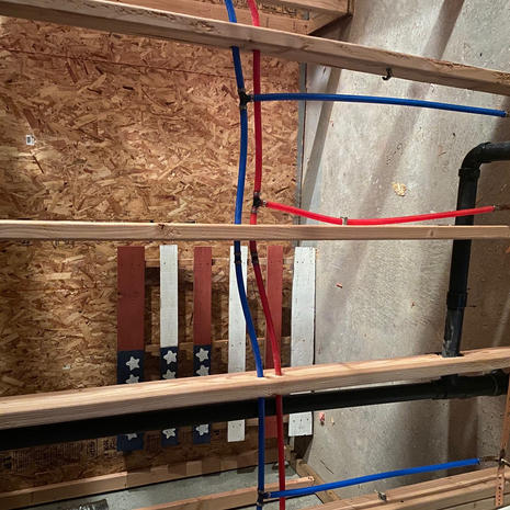 After pipes blue and red