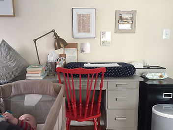 Writing desk with baby changing pad