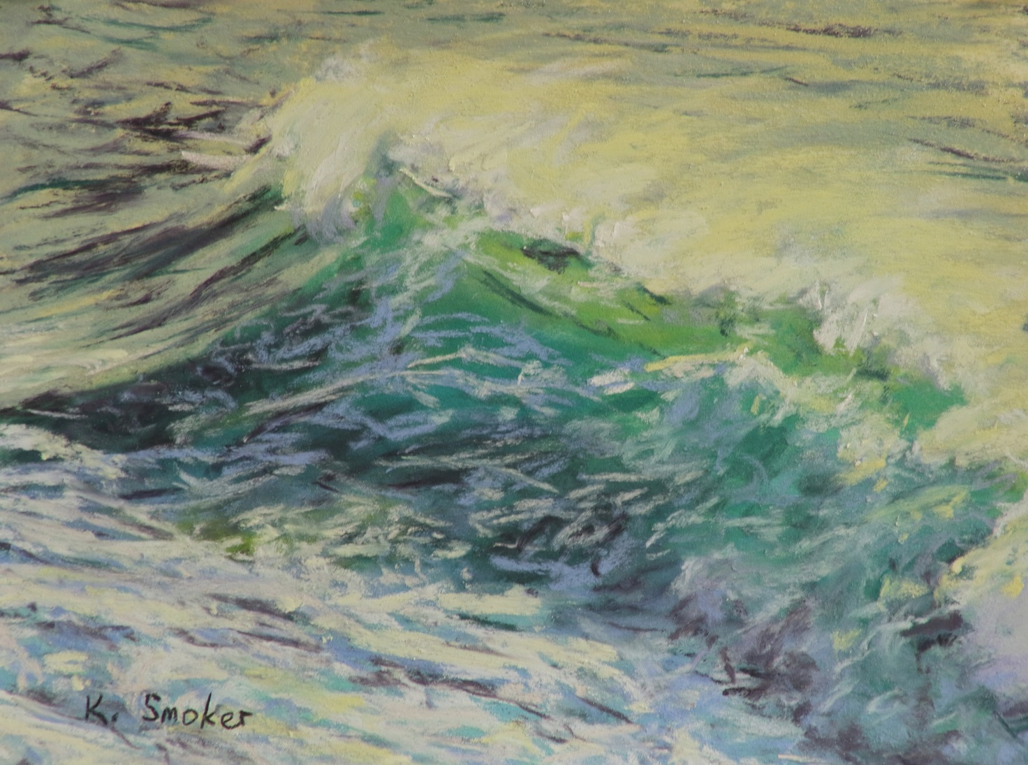 Wave Study on White. 6x8in.