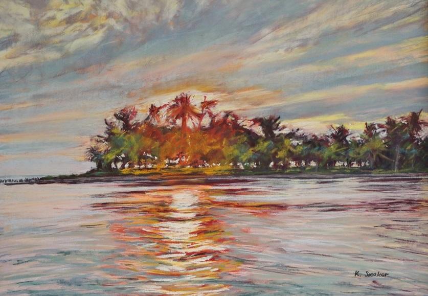 Fiji Sunset.  50x70cm.