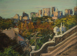 Attic City Views-Late Afternoon. 9x12in
