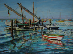 Moored at Olhao.  55 x 75cm