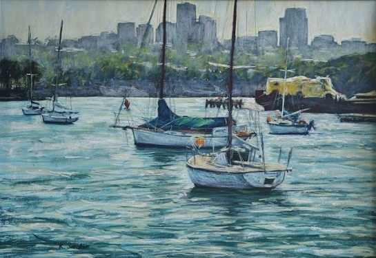 Snails Bay Morning.  50x70cm