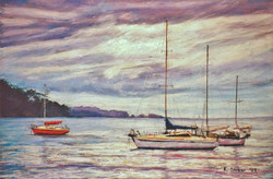 Dull Day on the Bay. 37x55cm.