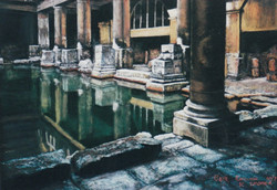 Roman Baths, Bath. 37x55cm. SOLD