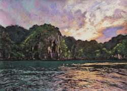 Halong Bay Evening. 17x23in