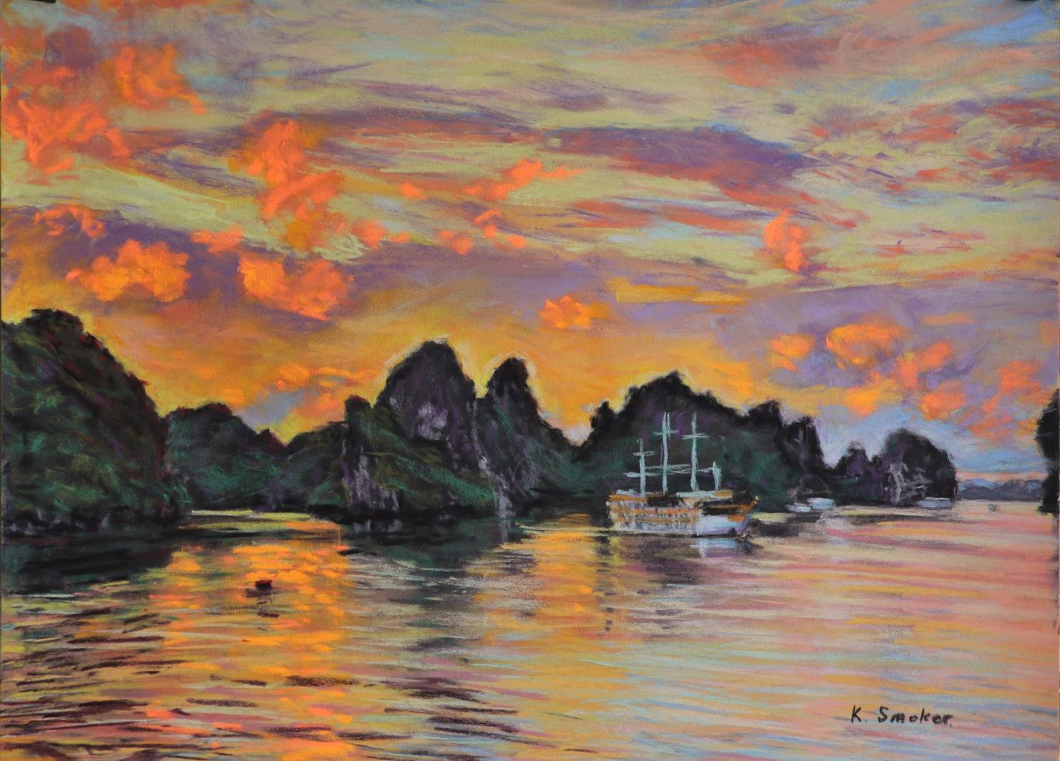 Halong Bay Sunset. 30x40cm