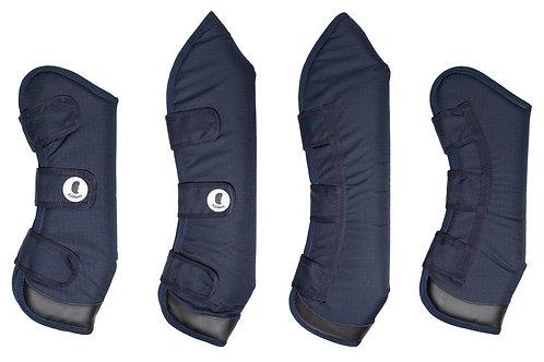 Protecciones de embarque con aplicaciones de cuero Azul