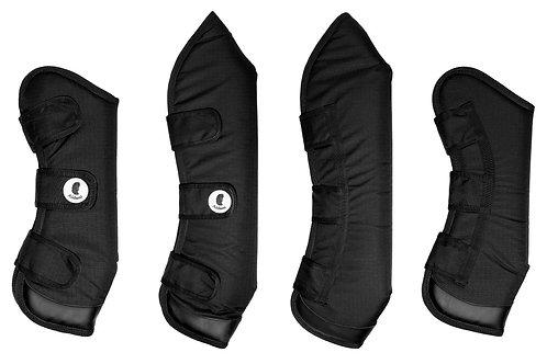 Protecciones de embarque con aplicaciones de cuero Negro