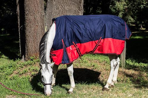 Capa para caballo Invierno azul y rojo