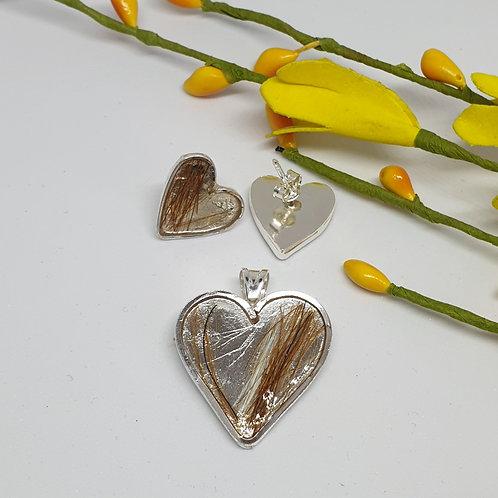 Aros de Plata de 950 corazón con Crin encapsulad
