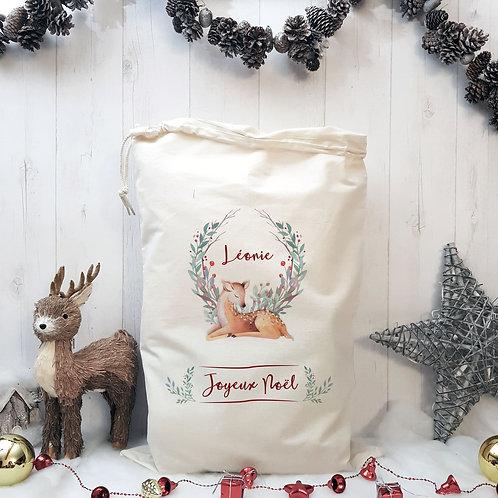 Sac de Noël personnalisé, hotte du père Noël, sac à cadeaux, Luz et Nina