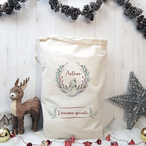 """Sac de Noël / Hotte personnalisée """"Bonhomme de neige"""""""