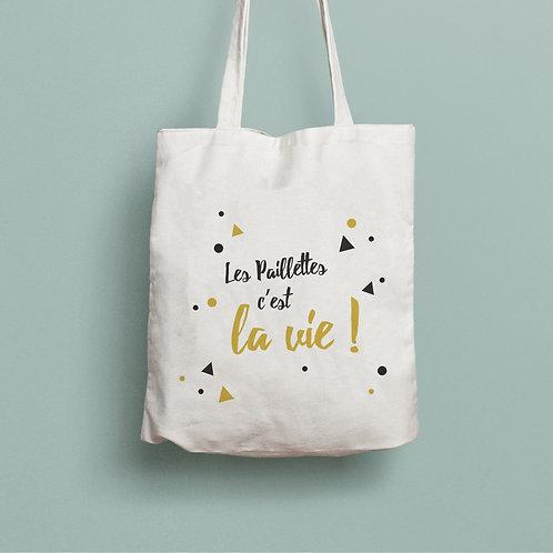 tote bag les paillettes c'est la vie, tote bag personnalisé, sac personnalisé, sac coton, luz et nina