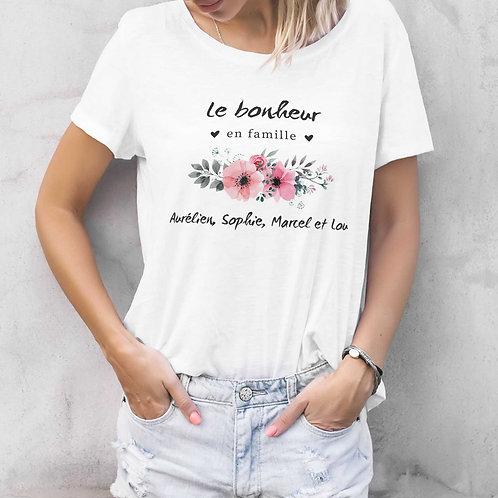 T-shirt femme personnalisé le bonheur en famille