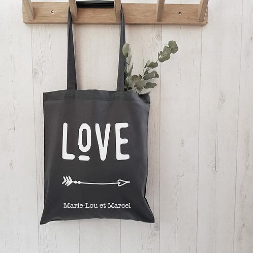 tote bag personnalisé, love, famille, sac personnalisé, luz et nina