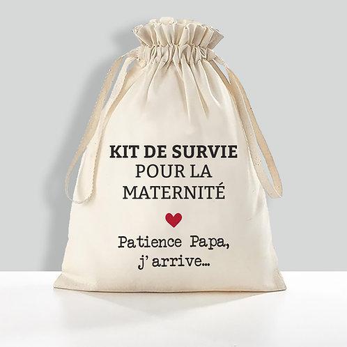 Kit de survie pour la maternité, pochon personnalisé, cadeau futur papa
