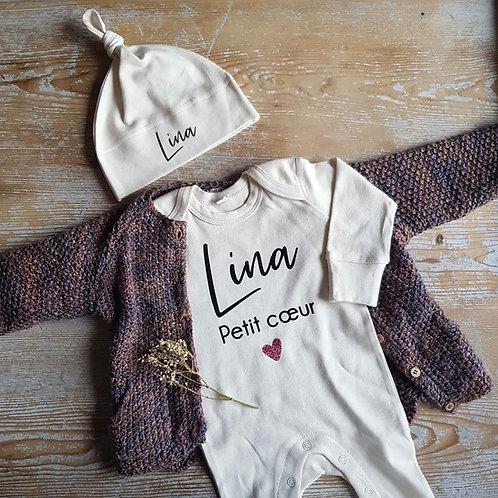 Pyjama et bonnet naissance bébé personnalisé