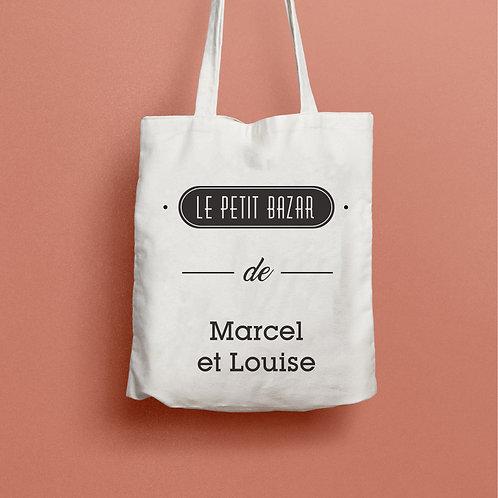 Tote bag le petit bazar, tote bag personnalisé, tote bag maman, sac personnalisé, sac à langer, luz et nina
