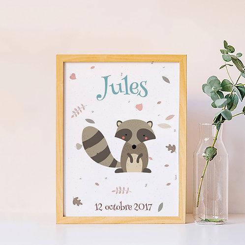 Affiche personnalisée raton laveur chambre enfant
