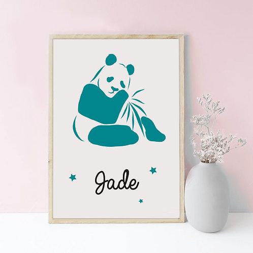 affiche naissance personnalisée thème panda
