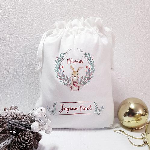 Sac de Noël personnalisé, emballage zéro déchet, balluchon de Noël, emballage cadeau Luz et Nina