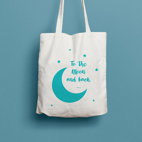 tote back to the moon and back, tote back lune, tote bag personnalisé