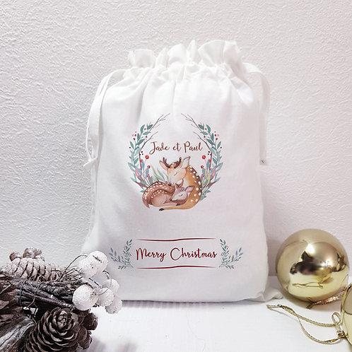 Sac de Noël personnalisé, emballage zéro déchet, balluchon de Noël, emballage cadeau, Luz et Nina