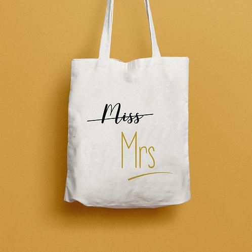 tote bag miss mrs, tote bag evjf, cadeau mariage, cadeau evjf, sac personnalisé, tote bag personnalisé, luz et nina