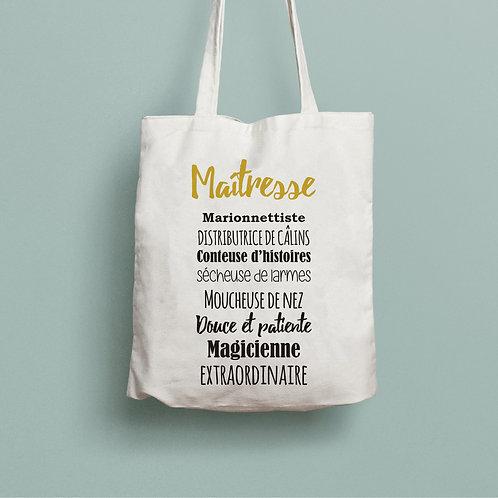 tote bag maîtresse, cadeau maîtresse, sac personnalisé, sac en coton, tote bag personnalisé, cadeau maîtresse, luz et nina