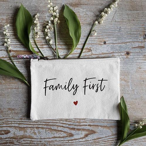 Pochette trousse en coton personnalisée Family First
