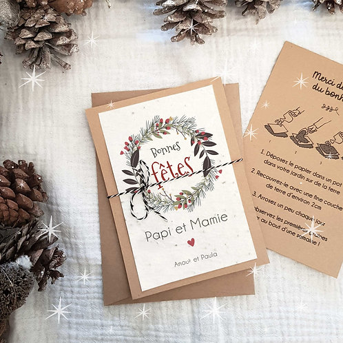 Carte à planter personnalisée bonnes fêtes joyeux noël
