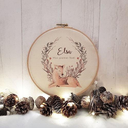 Cadre tambour bois personnalisé, thème Noël, Luz et Nina