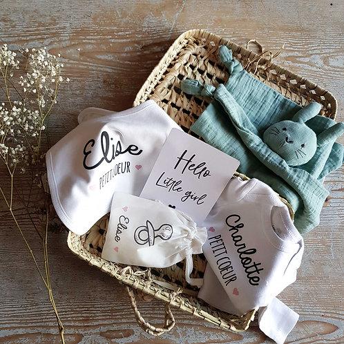 Valisette de naissance personnalisée, box naissance personnalisée