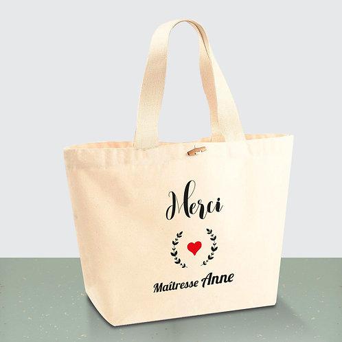 Sac cabas en coton BIO - sac maîtresse personnalisé - sac de plage - by Luz et Nina
