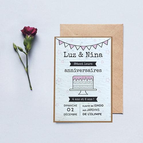 """Carton invitation à planter """"Anniversaire gâteau"""""""