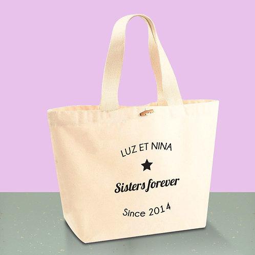 sac cabas de plage personnalisé, mamie, maman, étoile
