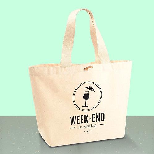 Sac cabas en coton BIO - sac week-end - sac de plage - by Luz et Nina