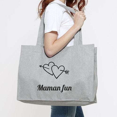 sac cabas de plage personnalisé coton recyclé, mamie, maman, marraine