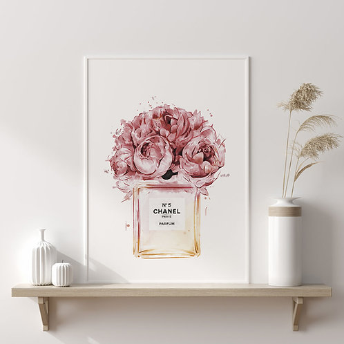 """Affiche encadrée """"Bouteille Chanel N°5 / Bouquet"""""""