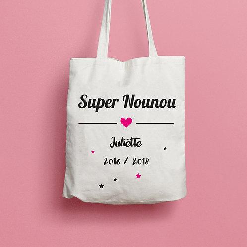 tote bag super nounou, super maman, super mamie, tote bag personnalisé, luz et nina