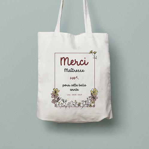 Tote bag Merci Maîtresse fleurs des champs